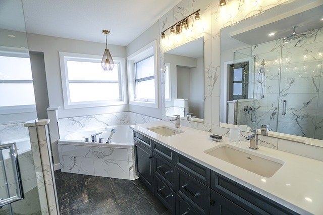 white marble black lacquer bathroom cabinets--Vogue Bathrooms Canberra